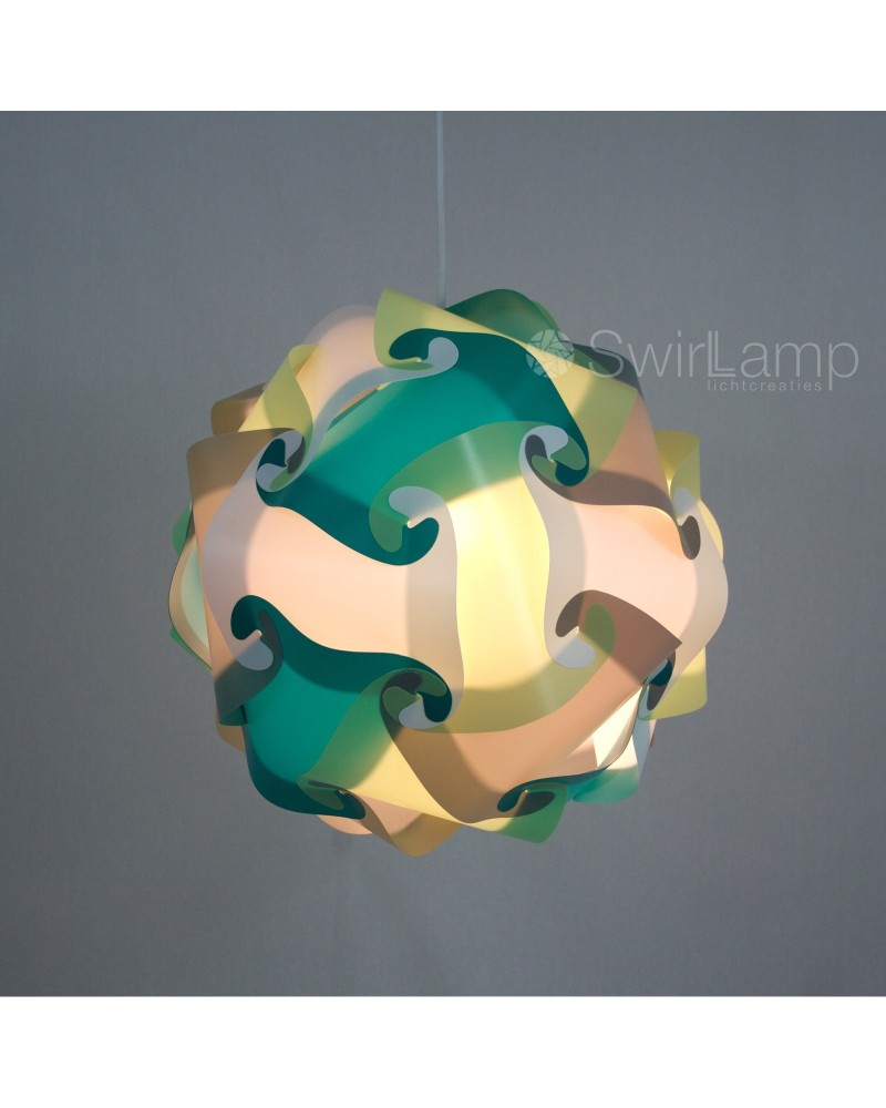 Swirlamp 42cm Petrol/Lime/Grey/White