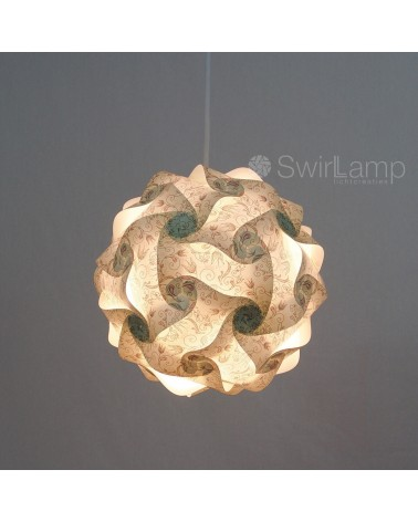 Swirlamp 30cm Green Flowers