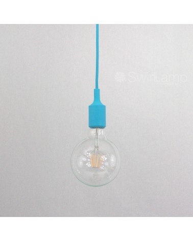 Hanglamp siliconen fitting E27 Lichtblauw