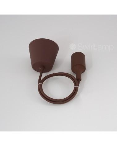 Pendel snoer hanglamp siliconen rubber fitting textiel snoer E27 Bruin