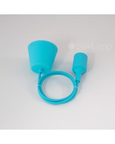 Pendel hanglamp siliconen fitting E27 Lichtblauw