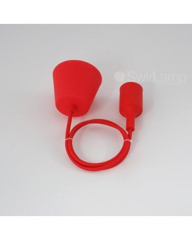 Snoerpendel met siliconen fitting E27 Rood snoerlamp