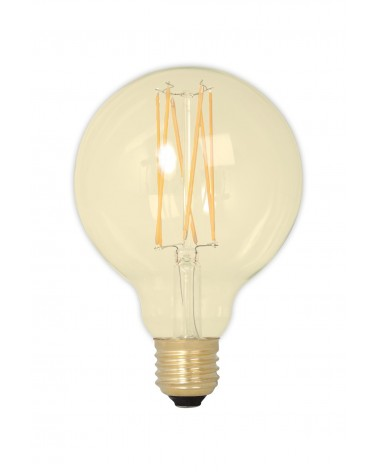 Gold LED 4W Dimmable Filament Globe Bulb 310lm E27 GLB95 - Carbob Filament Look