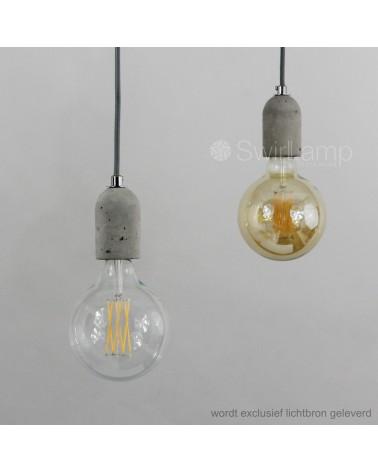 Hanglamp Beton Snoerpendel i.c.m LED LangFilament Globe 125 en Globe 125 GOLD (rechts)