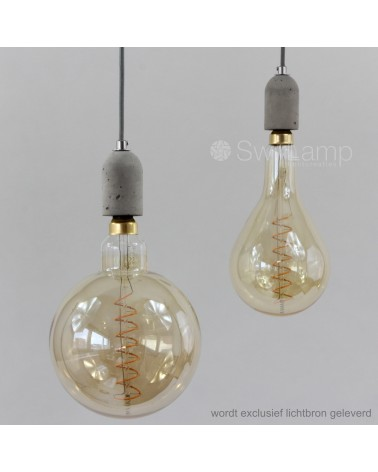 Concrete pendant with LED Long Filament Globe 125 and Globe 125 GOLD (at the right)