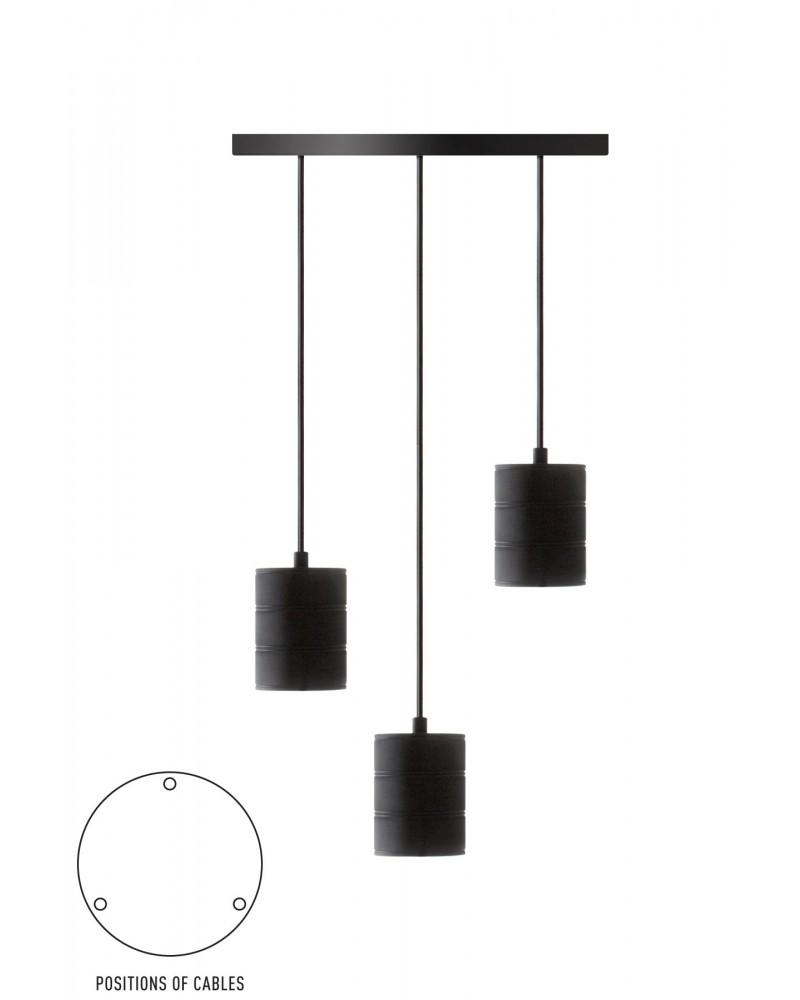 Calex Retro Pendel black with 3 sockets E40