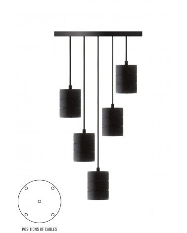 Calex Retro Pendant black with 5 sockets E40
