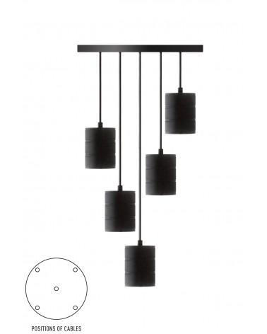 Calex Retro Pendel black with 5 sockets E40