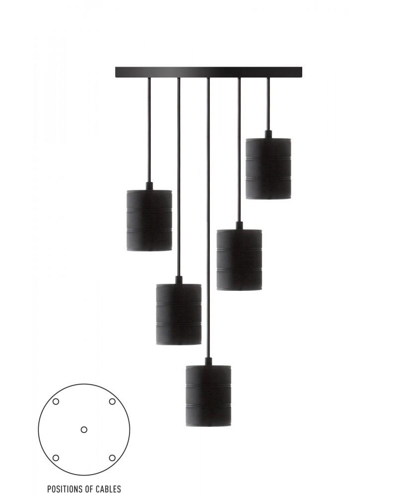 Calex Retro Pendel zwart met 5 fittingen E40