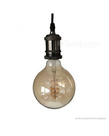 Pendant with metal Black Chrome Lamp holder - Fitting E27