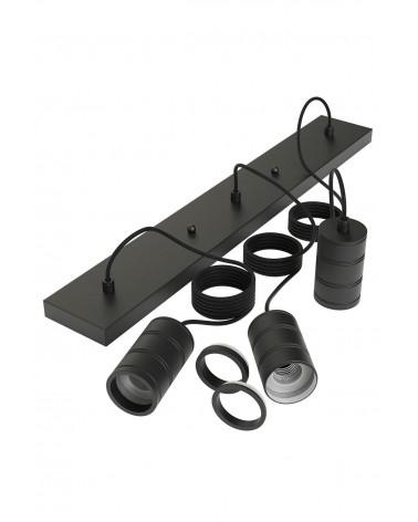 Calex Retro Pendel langwerpige plafondplaat zwart met 3 fittingen E27
