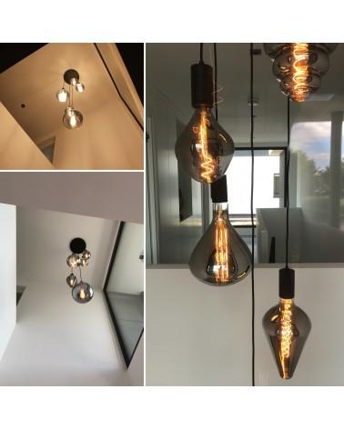 Plafondplaat met 5 E40 pendels, verloopfittingen en E27 LED lampen