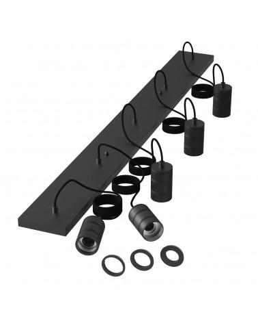 Calex Retro Pendel langwerpige plafondplaat zwart met 5 fittingen E27